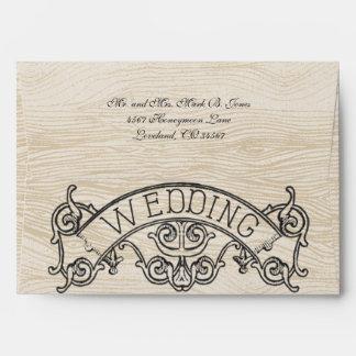 Personalized Rustic Wood Grain Pattern Wedding Envelope