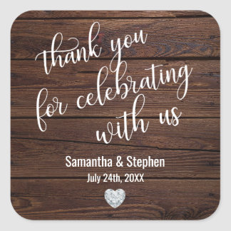 Personalized Rustic Wood Heart Thank You Wedding Square Sticker