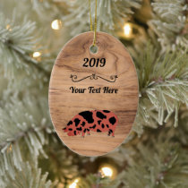 Personalized Rustic Wood KuneKune Pig Ceramic Ornament