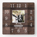 Personalized Rustic Wood Photo Wedding Anniversary Square Wall Clock