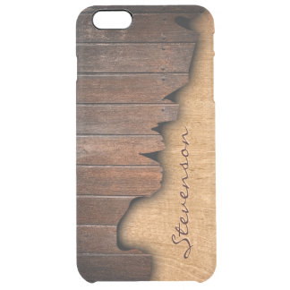 Personalized Rustic Wood Splintered Wood Look Clear iPhone 6 Plus Case