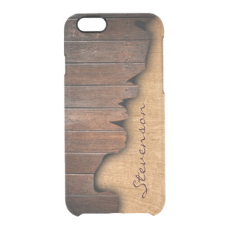 Personalized Rustic Wood Splintered Wood Look Uncommon Clearly™ Deflector iPhone 6 Case