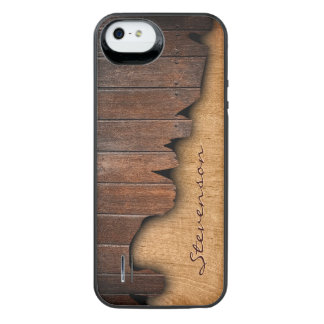 Personalized Rustic Wood Splintered Wood Look Uncommon Power Gallery™ iPhone 5 Battery Case