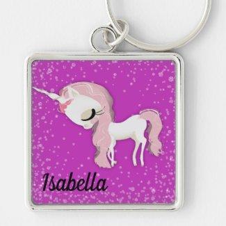 Personalized Sad Whimsical Unicorn on Pink Keychain