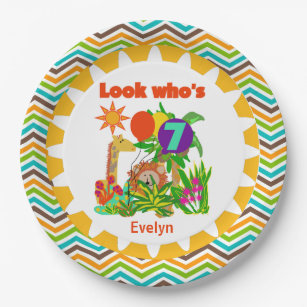 Personalized Safari 7th Birthday Paper Plates  sc 1 st  Zazzle & 7th Birthday Plates | Zazzle