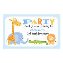 Personalized Safari Animals Birthday Sticker