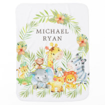 Personalized Safari Animals Boys Receiving Blanket