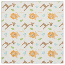 Personalized Safari Animals Jungle Themed Fabric