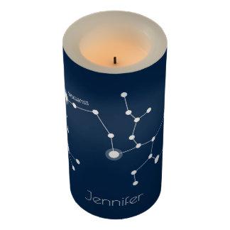 Personalized Sagittarius Zodiac Constellation Flameless Candle