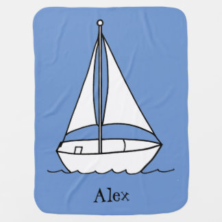Personalized Sailboat Baby Blanket Blue