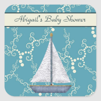 Personalized Sailboat Baby Shower Stickers