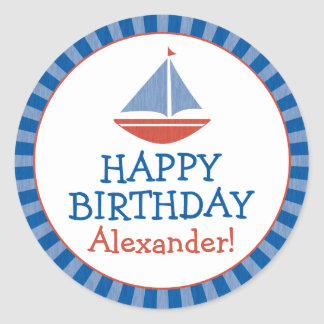 Personalized Sailboat Kids Birthday Sticker v2