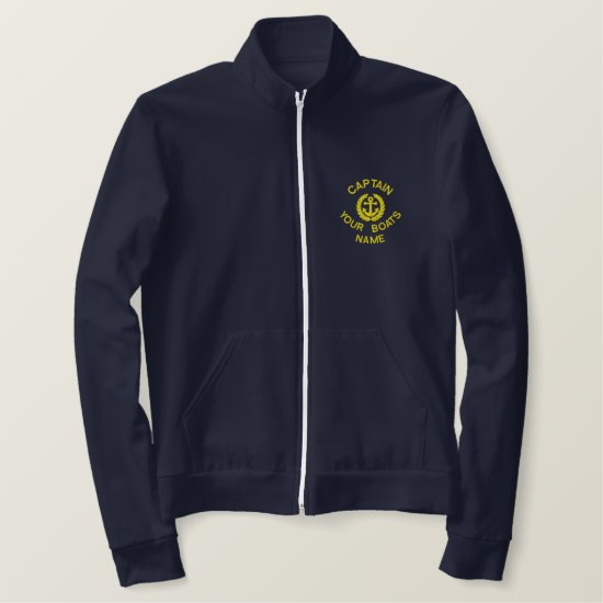 Personalized sailing boat captain and anchor embroidered jacket
