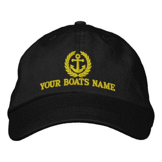 Personalized sailing boat captains embroidered baseball cap