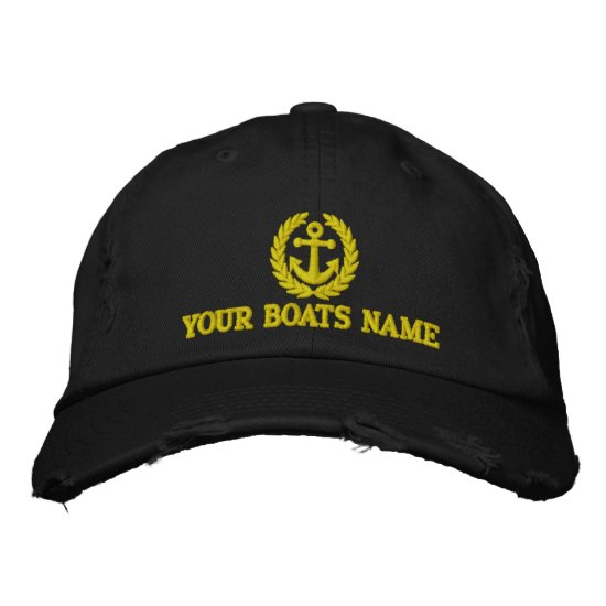 Personalized sailing boat captains embroidered baseball hat