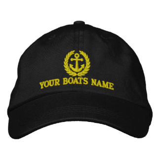 Personalized sailing boat captains embroidered baseball caps