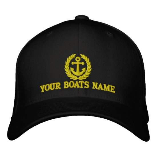Personalized sailing boat name captains embroidered baseball hat