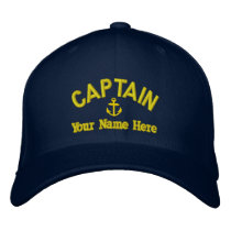 Personalized sailing captains embroidered baseball cap