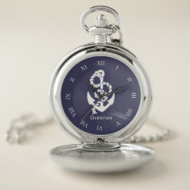 Personalized Sailor Anchor With Roman Numerals Pocket Watch