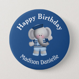 Personalized Sailor Elephant Birthday Button