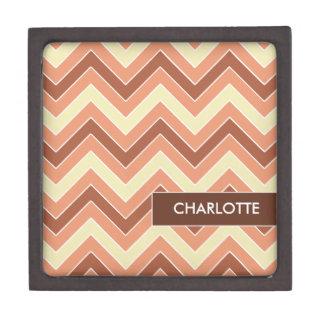 Personalized Salmon Chevrons Jewelry/Trinket Box Premium Gift Boxes
