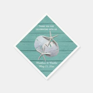 Personalized Sand Dollar Starfish Wedding Napkins