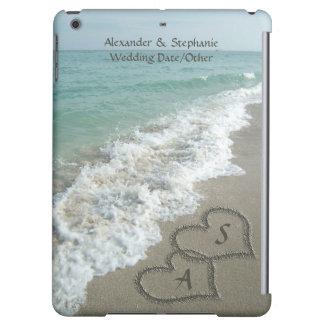 Personalized Sand Hearts Beach, Romantic Ocean iPad Air Cover