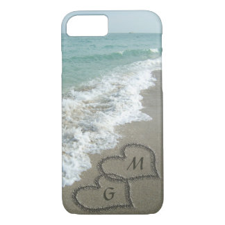 Personalized Sand Hearts on the Beach iPhone 7 Case