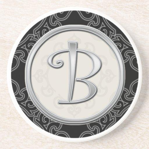 Personalized Sandstone Coasters:Silver Monogram B