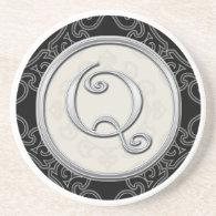 Personalized Sandstone Coasters:Silver Monogram Q Coaster