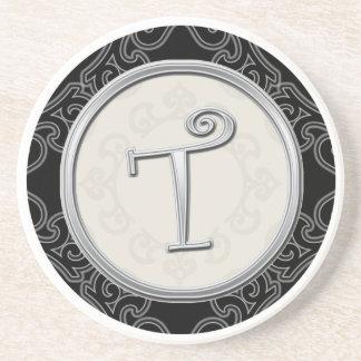Personalized Sandstone Coasters:Silver Monogram T