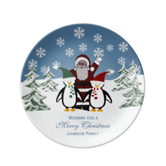 Personalized Santa And Penguin Porcelain Plate
