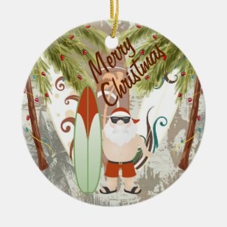 Personalized Santa and Surfboards Beach Christmas Double-Sided Ceramic Round Christmas Ornament