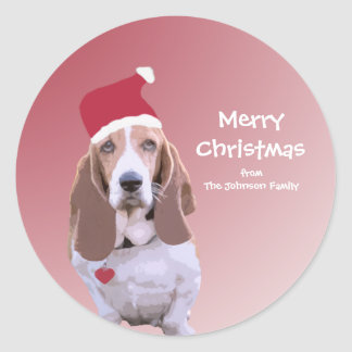 Personalized Santa Basset Hound Stickers