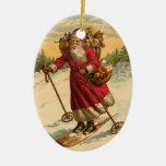 Personalized Santa Claus Skiing Christmas Ornament