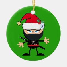 Personalized Santa Clause Ninja Warrior Ceramic Ornament at Zazzle