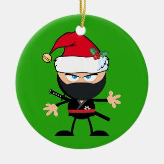 Personalized Santa Clause Ninja Warrior Ceramic Ornament