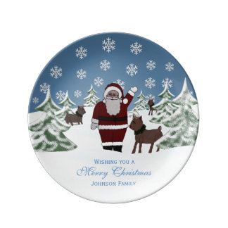 Personalized Santa Clause Porcelain Plate