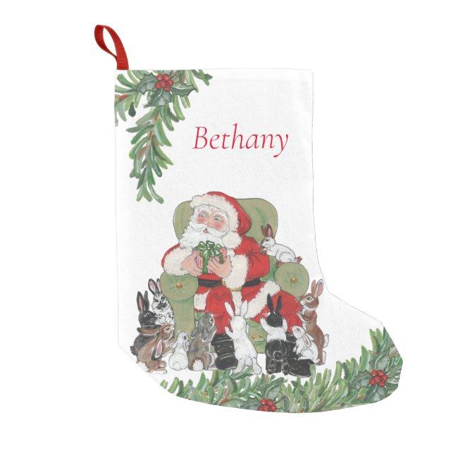Personalized Santa & Cute Bunny Rabbits Christmas Small Christmas Stocking