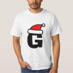 Personalized Santa hat monogram Christmas t shirt