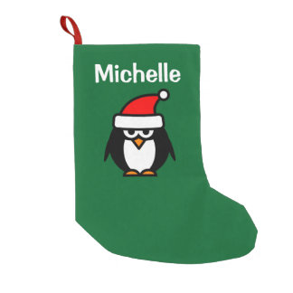 Personalized Santa penguin Christmas stocking Small Christmas Stocking