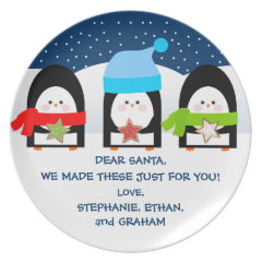 Personalized Santa's Cookies Plate with Penguins