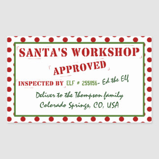 Personalized Santa's Workshop Approved & Inspected Sticker