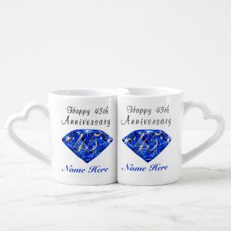 Personalized Sapphire Anniversary Gift Ideas Coffee Mug Set