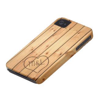 Personalized Sauna Wood Panels w/ Heart & Initials iPhone 4 Case-Mate Case