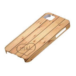 Personalized Sauna Wood Panels w/ Heart & Initials iPhone SE/5/5s Case
