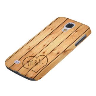 Personalized Sauna Wood Panels w/ Heart & Initials Samsung Galaxy S4 Case