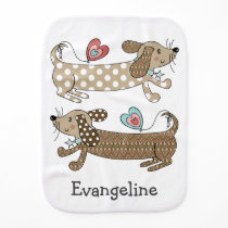 Personalized Sausage Dog Dachshund Baby Burp Cloth