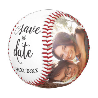 Personalized Save The Date Baseball Add Photo