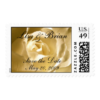 Personalized Save the Date Cream Rose Stamp